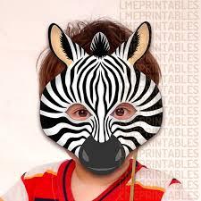 zebra printable mask diy safari jungle black animals masks