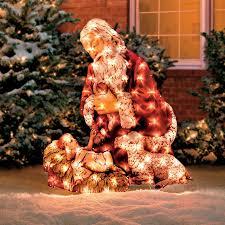kneeling santa yard display outdoor decoration