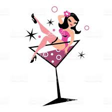 martinis clipart pretty woman in martini glass vector