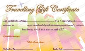 best travel gift cards experience gift certificate template