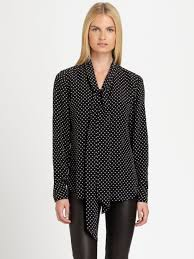black polka dot blouse lyst ralph black label silk polka dot blouse in black