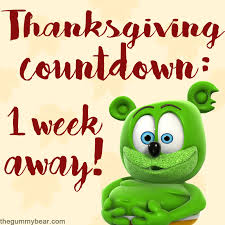 thanksgiving 2017 countdown with gummibär only one week away