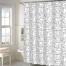 Bed Bath And Beyond Window Shades Cats Shower Curtain In White Bed Bath U0026 Beyond