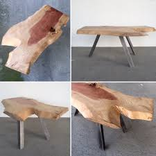 Industrial Modern Furniture by Unique Live Edge Solid Slab Coffee Table On Industrial Steel