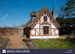 gingerbread style country cottage norfolk england stock photo