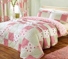 shabby chic patchwork duvet cover floral pink u0026 green quilt