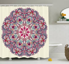 Indian Curtain Fabric Charmhom Flower And Leaves Bohemian Theme Indian Ethnic Design Art