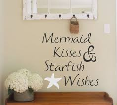beach wall decal etsy vinyl wall decal mermaid kisses starfish wishes lettering decor beach themed words for your quotes the