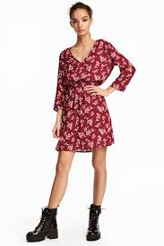 v neck dress burgundy floral ladies h u0026m gb