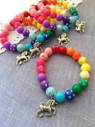 party favor bracelets rainbow unicorn charm pattern beaded children bracelet party