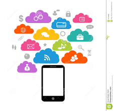 smart device with cloud of application icons busi royalty free