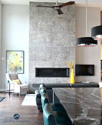 contemporary 2 storey fireplace with modern tile linear gas