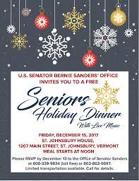 st johnsbury senior holiday dinner senator bernie sanders of