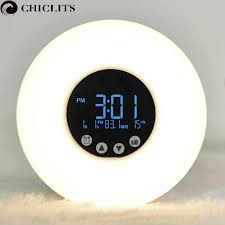 clock radio with night light wake up led light with sunrise simulation digital led display alarm