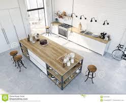 modern nordic kitchen in loft apartment 3d rendering stock