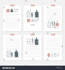 recipe cards cooking card template set stock vector 570992770