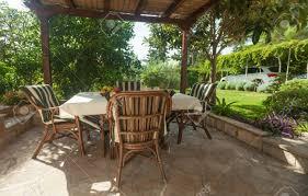 garden terrace in mediterranean style environment stock photo