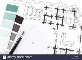 color swatches and hand drawing plans architecture planning stock