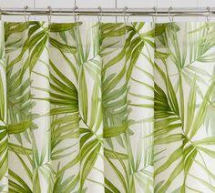 white bathroom and green shower curtain i love the pattern for