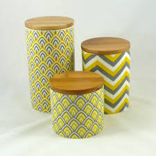 set of 3 modern retro ceramic canisters kitchen chevron yellow