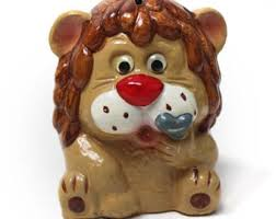 heart shaped piggy bank lion piggy bank etsy