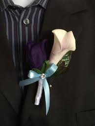 eggplant ribbon colorful artificial flower wedding bouquet corsage light blue and