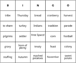 thanksgiving day bingo by bingo card template