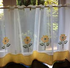 Sunflower Kitchen Curtains Kitchen Cafe Curtains Valance Home Design Ideas