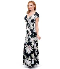 maxi dresses with sleeves 1970s style black floral print sleeve maxi dress style