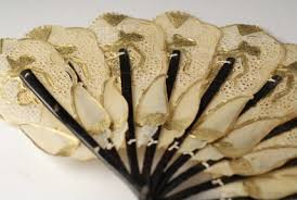asian fan fan vintage asian fan pierced rawhide with gold detailing and