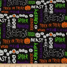 Fabric Halloween by The Boo Crew Halloween Words Black With Multi Discount Designer