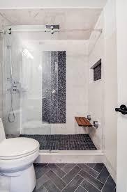 White Pebble Tiles Bathroom - new york white pebble tile bathroom transitional with tiles teak