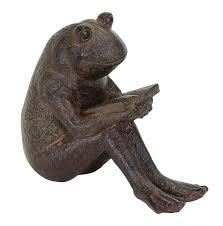 amazon com benzara quite reading garden frog statue polystone