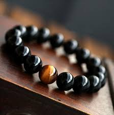 mens beaded jewelry bracelet images Natural black onyx with tiger eye stone beads men jewelry bracelet jpg