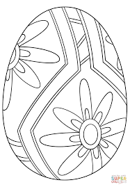 easter egg with flower pattern coloring page free printable