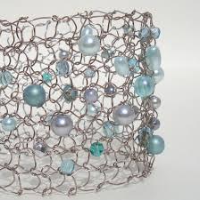 wire lace pastel mint beaded cuff bracelet delicate jewelry wire lace