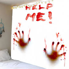 red w91 inch l71 inch home decor bloody help me handprint wall