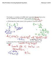 Quadratic Word Problems Worksheet With Answers Word Problems With Quadratic Functions