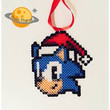 sonic the hedgehog perler sprites ornament by