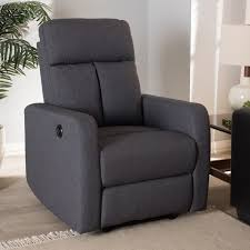 Contemporary Recliners Baxton Studio Garland Modern And Contemporary Grey Fabric Power