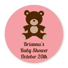 teddy baby shower teddy pink personalized sticker labels teddy pink baby