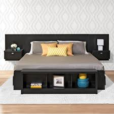 platform storage bed with floating headboard in black bbx bhhx bed