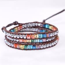 leather wrap bracelet with stones images Chakra bracelet jewelry handmade leather wrap bracelet multi color jpg