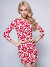 red tribe pattern 3 4 sleeve bodycon dress original designer
