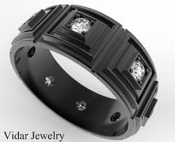 Mens Wedding Rings Black by Mens Wedding Band 14k Black Gold Diamonds Vidar Jewelry Unique