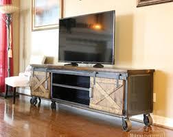 modern industrial media console vintage living room