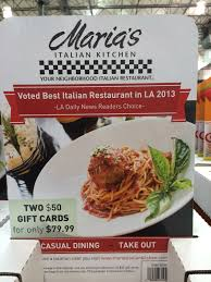 maria u0027s italian kitchen gift cards at costco 2 x 50 cards for