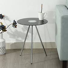 small modern round end side table black tempered glass 3 legs