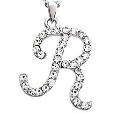 ladies necklace images Initial letter r pendant necklace charm ladies teens jpg