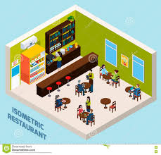restaurant bar interior isometric composition poster stock vector